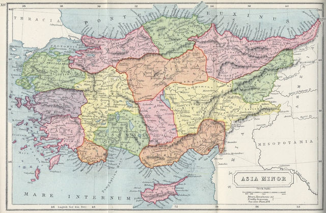 Map Of Modern Asia.Map Of Asia Minor Modern Turkey During Roman Times