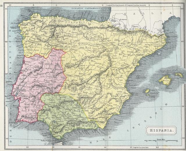 Map of Hispania (Spain and Portugal) During Roman Era